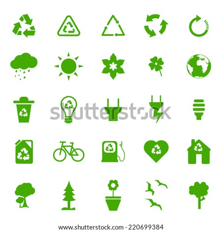 Ecological basic Icons set. - stock vector