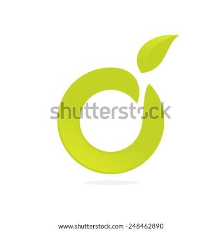 Ecological company O letter green logo icon  - stock vector