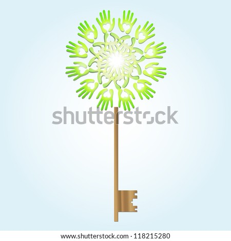 ecological concept, green key made with hands with heart shape - stock vector