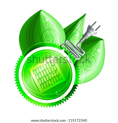 Ecological concept: green label with solar panels and electricity plug with three shiny leaves with dew drops. Eps10 - stock vector