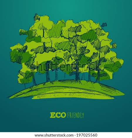 ecological concept, green tree, save our planet, engraved style, hand drawn - stock vector