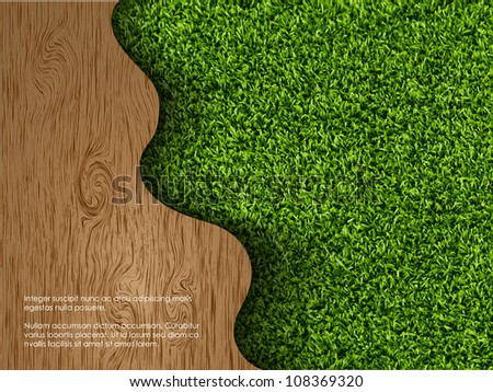 ecological concept of grass with wood - stock vector