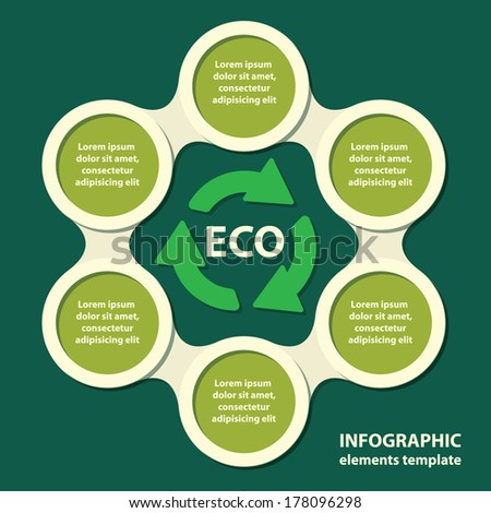 ecological concept. recycling ecological, environmental protection infographics in green colors. vector illustration - stock vector