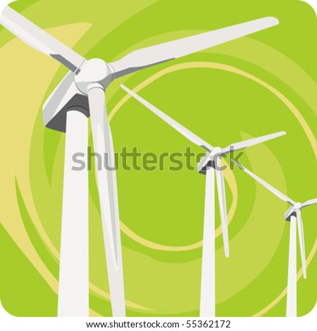 Ecological Concepts #6: Renewable Energies - Wind turbines turned by the energy of wind. - stock vector