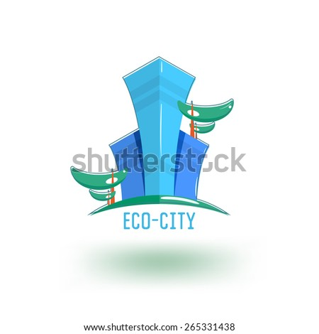 Ecological construction logo template. Skyscrapers with vegetation. - stock vector