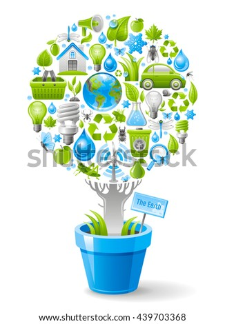 Ecological design with ecology nature symbols icon set in tree. White background. Environment protection concept includes recycling symbol, Earth globe, garbage can, electric car, light bulb, turbine - stock vector