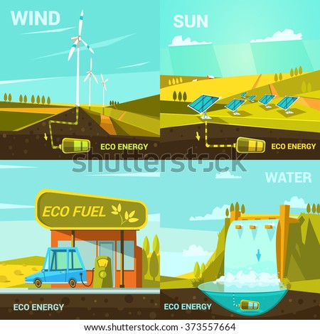 Ecological energy design concept set with retro cartoon wind sun and water power elements isolated vector illustration - stock vector