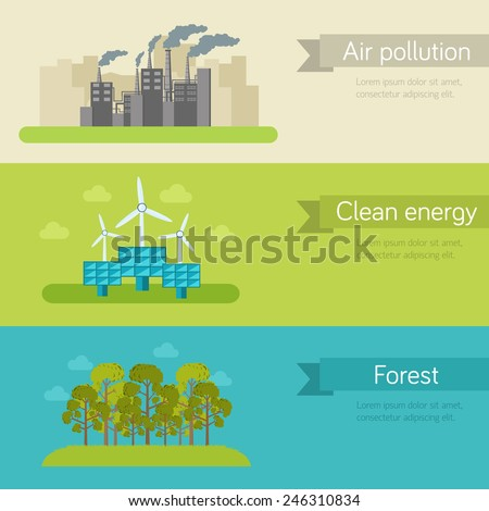 ecological horizontal banners vector illustration concept. Template for website and mobile appliance concept - stock vector