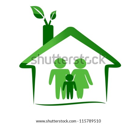 Ecological house and family - stock vector