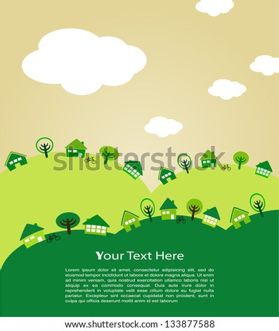 Ecological house and village - stock vector