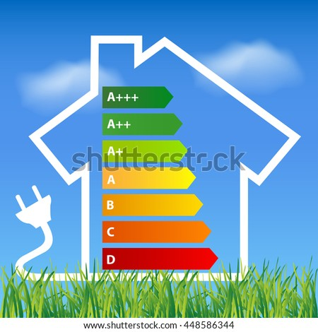 Ecological house outline with energy efficiency rating Environmental friendly energy.Energy saving concept Eco house.Think green concept  - stock vector