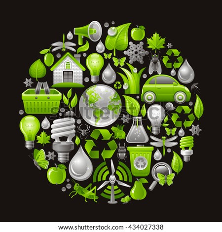 Ecological icon set in green color with concept icons in circle on black background - stock vector