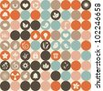 ecological icons in retro seamless pattern - stock vector