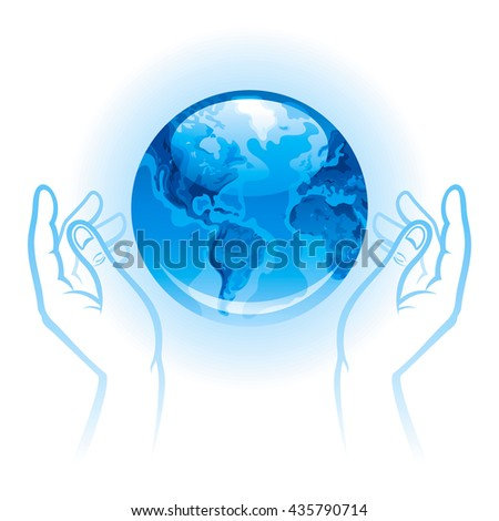 Ecological illustration with human hands holding blue Earth planet icon - stock vector