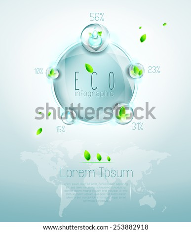 Ecological infographic with design elements, structured and named layers, transparency, EPS 10