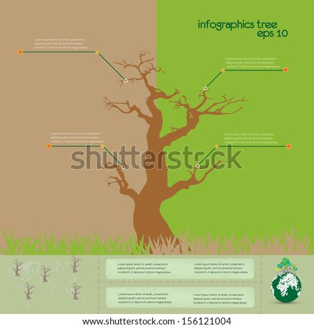 ecological infographics with tree dry. infographic concept - stock vector