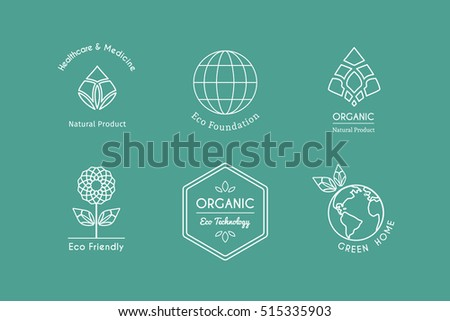 Ecological logo templates. Vector emblems for eco foundations, organic products, natural food and medicine, green technology