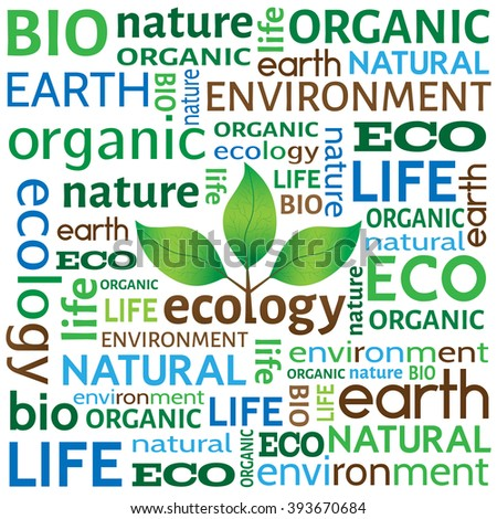 Ecological or environmental concept or background. Different words related to ecology with tree with leaves logo in the middle. - stock vector