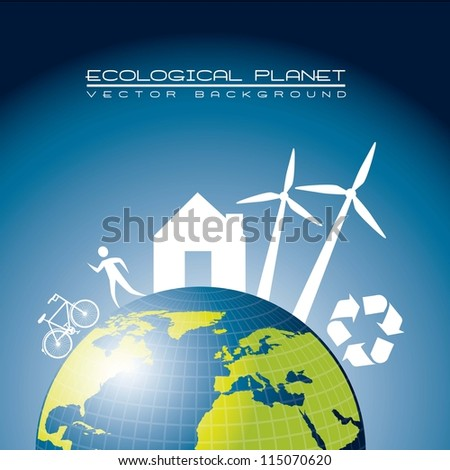 ecological planet with elements, blue. vector illustration - stock vector