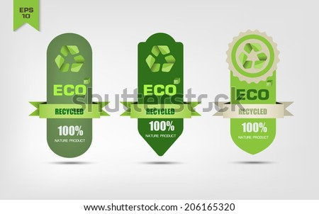 Ecological recycle labels - stock vector