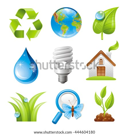 Ecological set with green icons on white background for environment protection concept. Recycling symbol, Earth globe, light bulb, water drop, magnifier, ecological house, sprouting plant, leaf, grass - stock vector