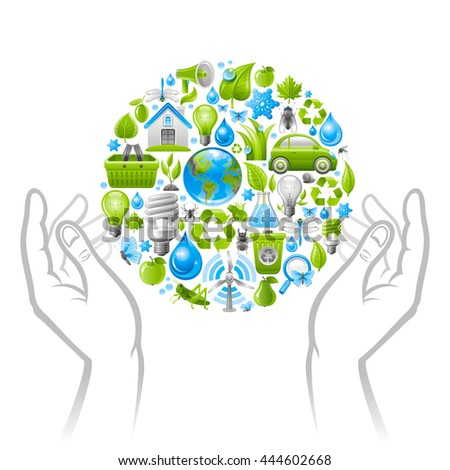 Ecological set with human hands and icons. Environment protection concept with recycling symbol, Earth globe, garbage can, electric car, light bulb, insect, wind turbine, water, organic food, water - stock vector