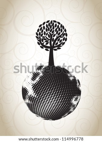 ecological symbol with a tree on the world  vector illustration - stock vector