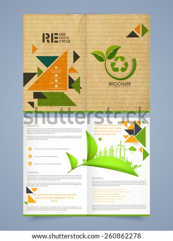 Ecological template, brochure or flyer design with front and back page presentation. - stock vector