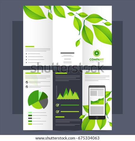 ecological tri fold leaflet brochure or template with green leaves and statistical infographic element