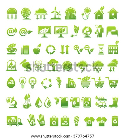Ecology, alternative energy sources and market. Vector icons set.