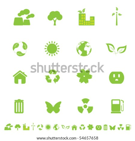 Ecology and clean environment related symbols and objects - stock vector