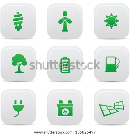 Ecology and Energy buttons,Green version,vector