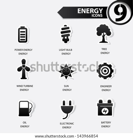 Ecology and energy icons,black version,vector - stock vector