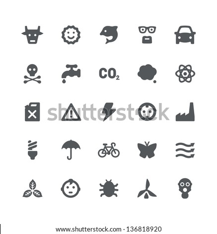 Ecology and energy minimalistic simple icons - stock vector