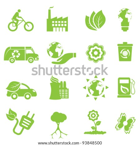 Ecology and environment icon set - stock vector