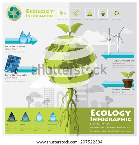 Ecology And Environment Infographic Element Design Template - stock vector