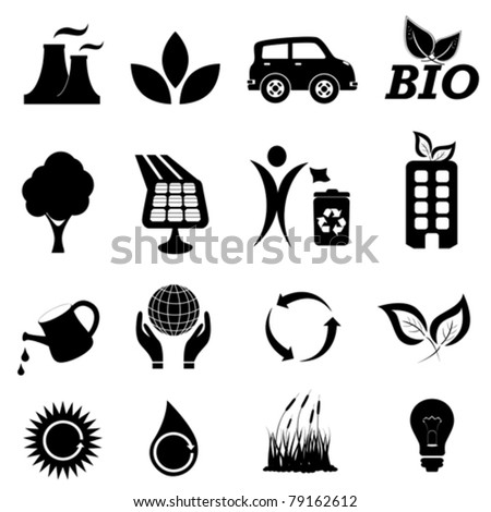 Ecology and environment related symbols - stock vector