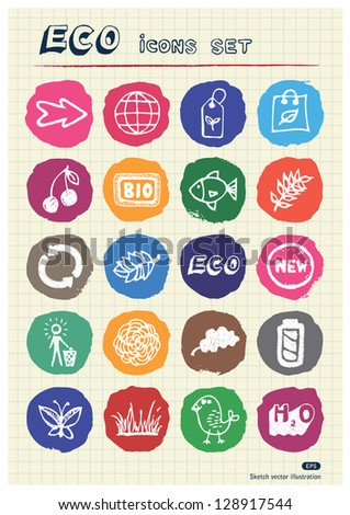 Ecology and nature web icons set drawn by chalk. Hand drawn vector elements pack isolated on paper