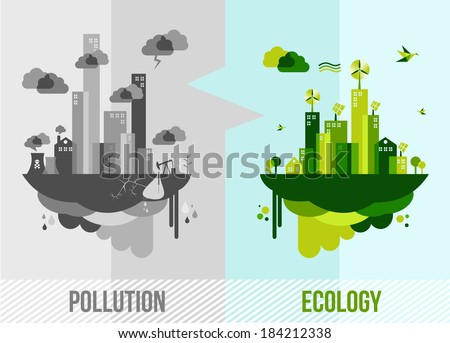 Ecology and pollution city concept. EPS10 vector file organized in layers for easy editing. - stock vector