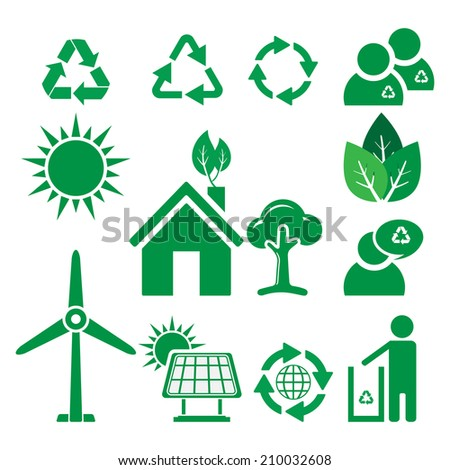 Ecology and recycle icons, vector - stock vector