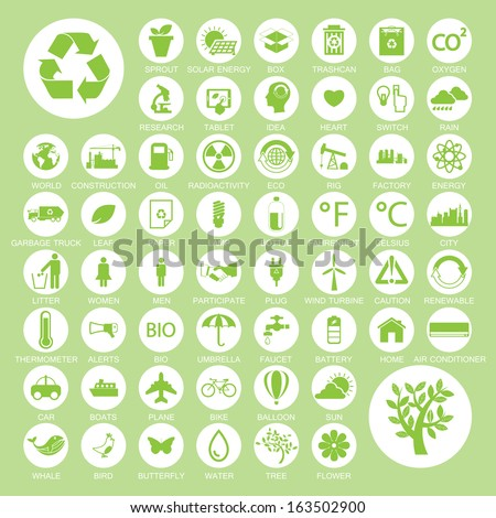 Ecology and recycle icons, vector eps10 - stock vector