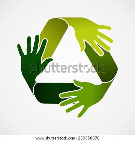 Ecology and recycling teamwork concept illustration. Recycle symbol made with green hands. Vector file organized in layers for easy editing. - stock vector