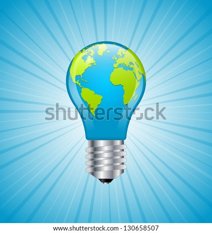 Ecology and saving energy icon with light bulb and planet Earth