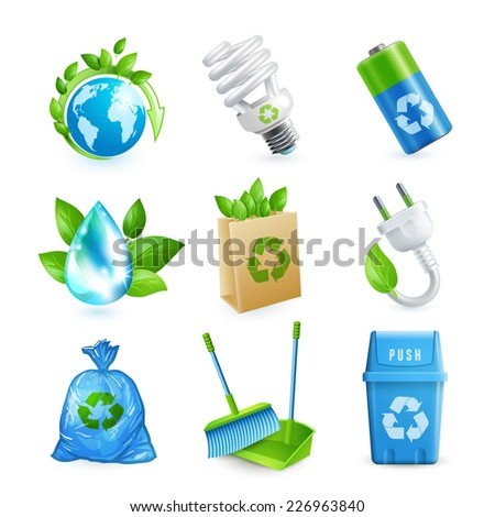 Ecology and waste colored icons set of globe paper bag plug isolated vector illustration. - stock vector