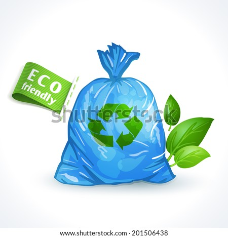 Ecology and waste global eco friendly plastic bag with recycling symbol isolated on white background vector illustration - stock vector