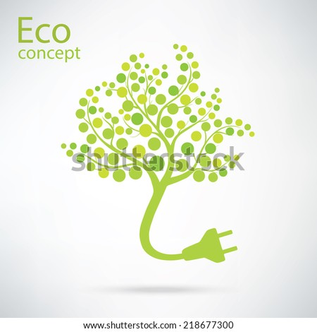Ecology and waste plug symbol with eco friendly tag isolated on white background illustration - stock vector