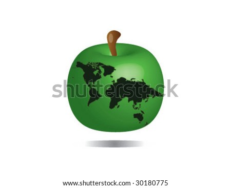 ecology apple vector with planet