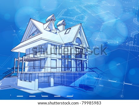 Ecology architecture design: house, plans & blue bokeh background - vector illustration. Eps 10 - stock vector
