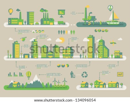 Ecology background, vector info graphic - stock vector