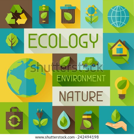 Ecology background with environment, green energy and pollution icons. - stock vector